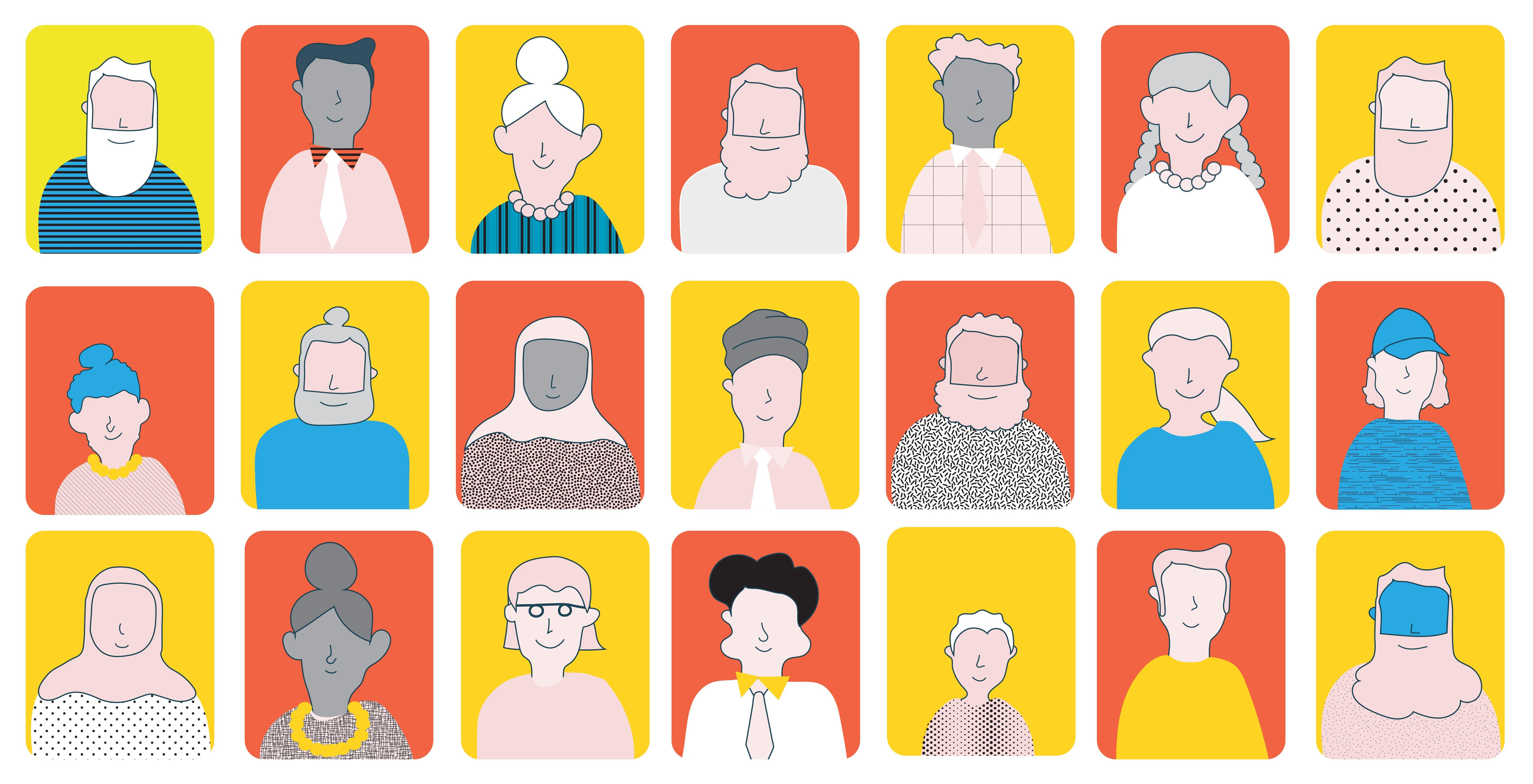 Forskjellige mennesker, tegnet illustrasjon.