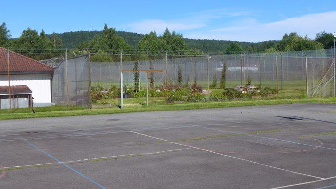 bilde av stor luftegård med asfalt og åpen dør til den nye hagen