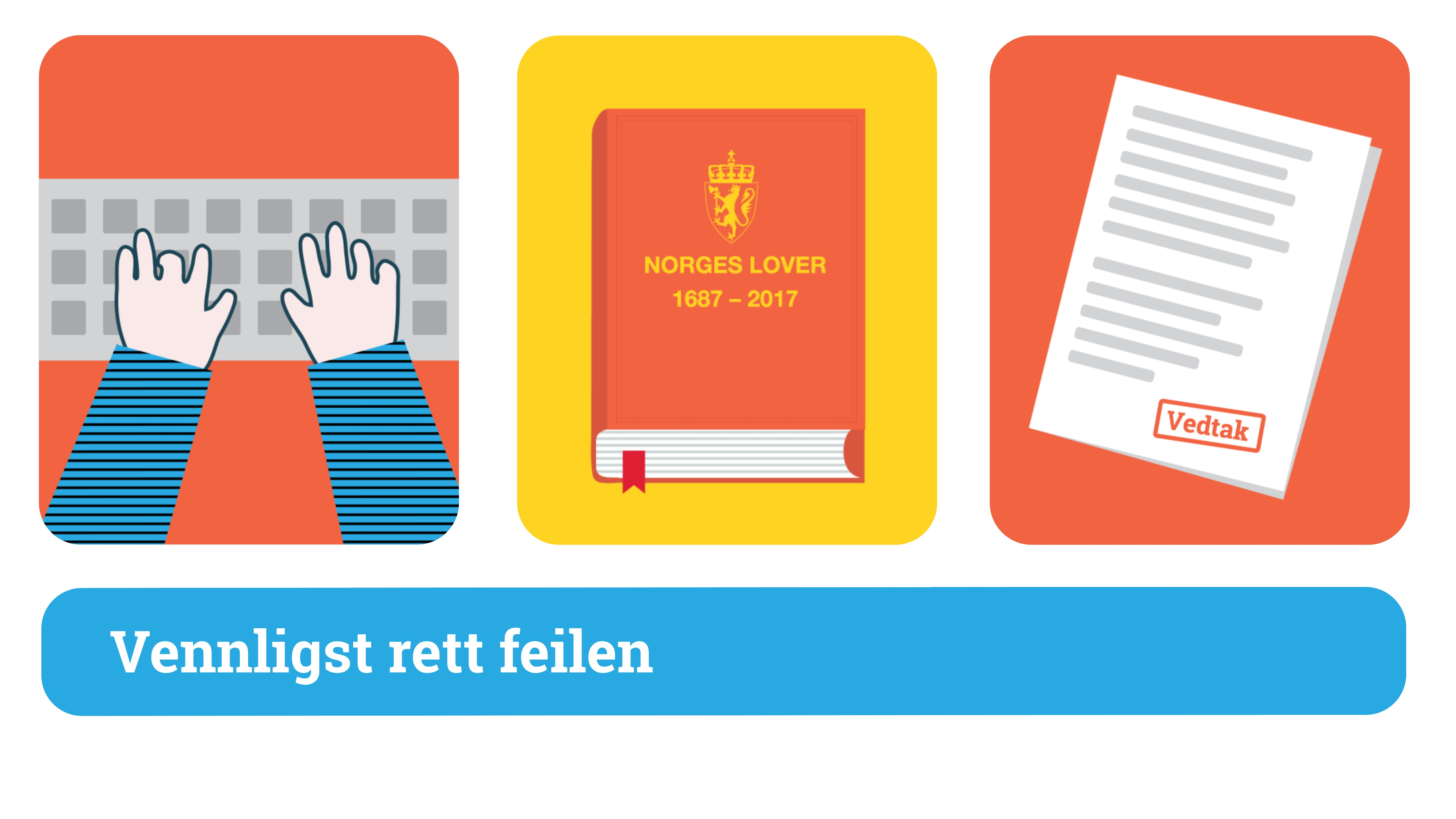 """Animert illustrasjon: 1Fingrer skriver på tastatur, 2:Norges lover, 3:Et dokument med stempelet """"Vedtak"""""""